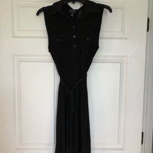 Dresses & Skirts - Black dress with button front and waist tie